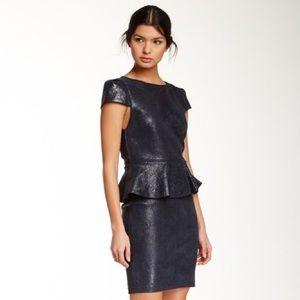 Alice + Olivia Navy peplum Leather Dress 6